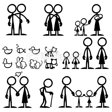 Stickfigure Family Decal Royalty Free Stock Vector Art.