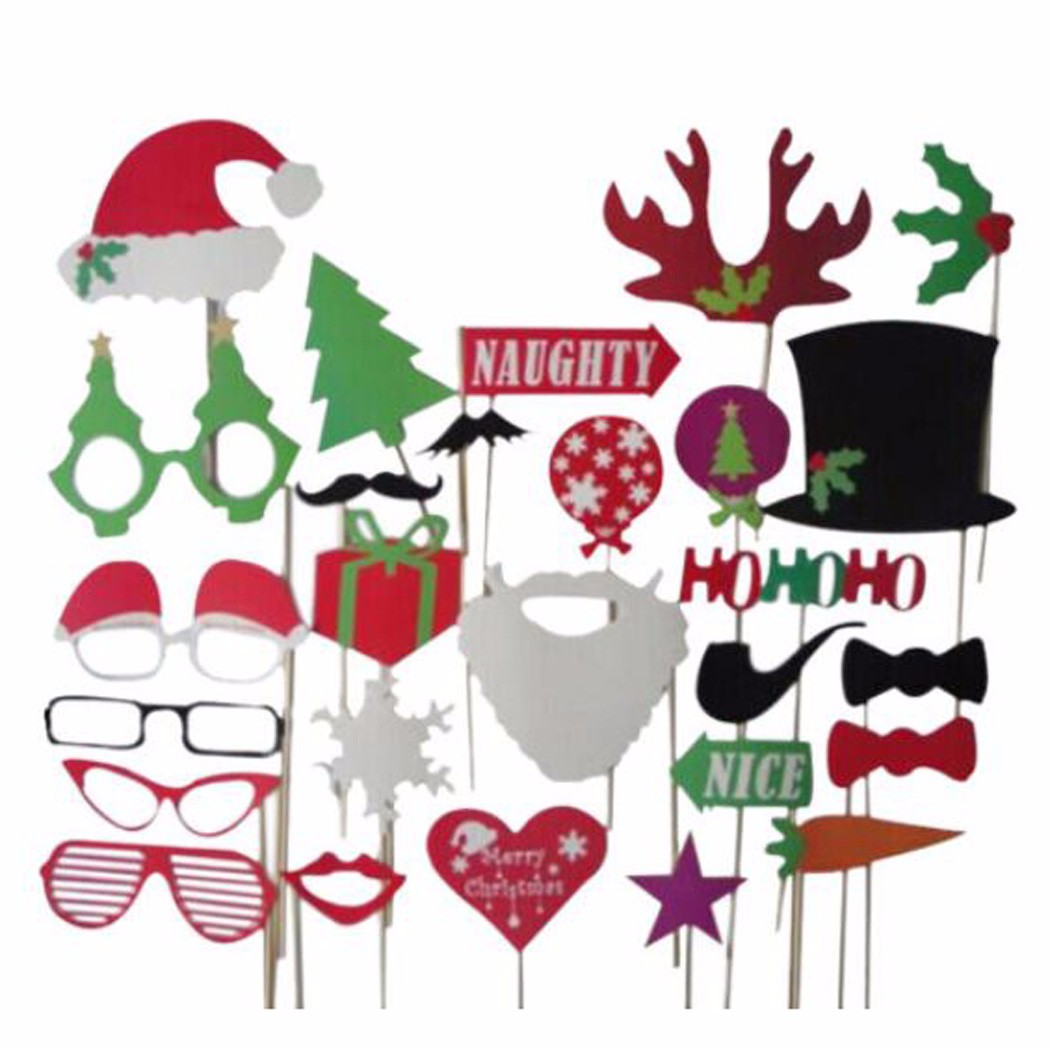 27pcs Christmas Santa Hat Party Funny Masks DIY Photo Booth Props.
