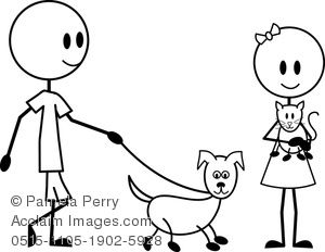 Clip Art Image of a Stick Figure Boy and Girl With Their.