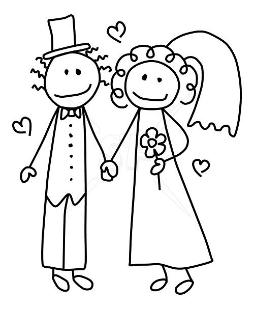 Bride And Groom Clipart Black And White.