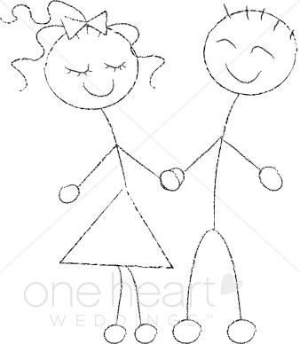 Stick Figure Couple Clipart.