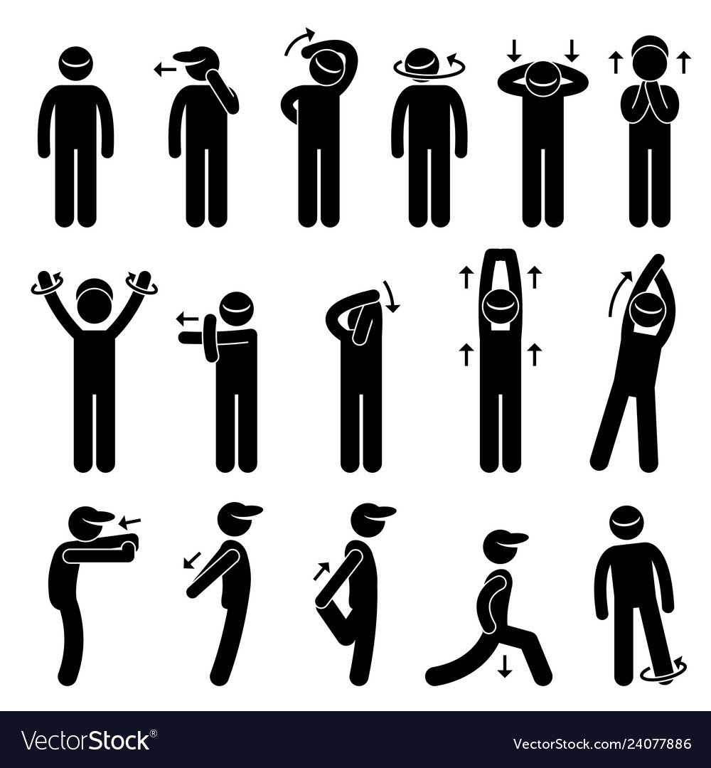 Body stretching exercise stick figure pictogram.
