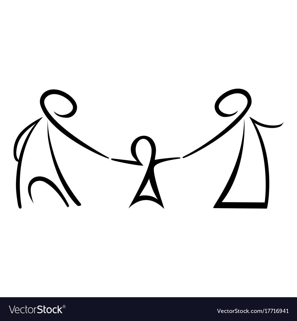 Stick figures happy family.