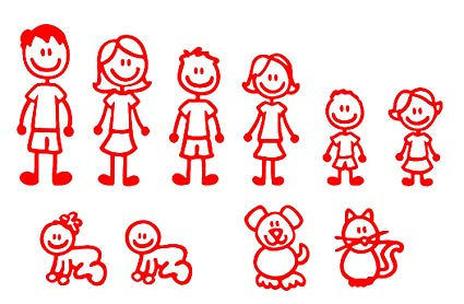 Nepa Designs (Red) 10 Stick Figure Family.