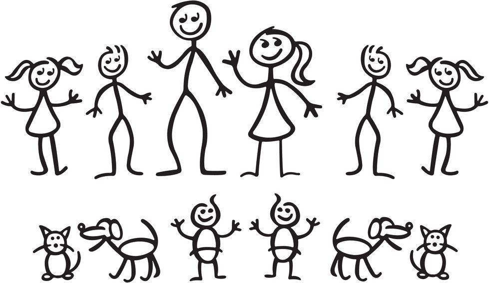 Helping children make a stick figure family. ….