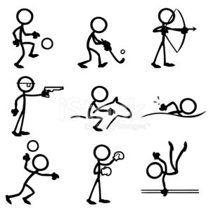 Stick Figure People Sports stock vectors and illustrations.