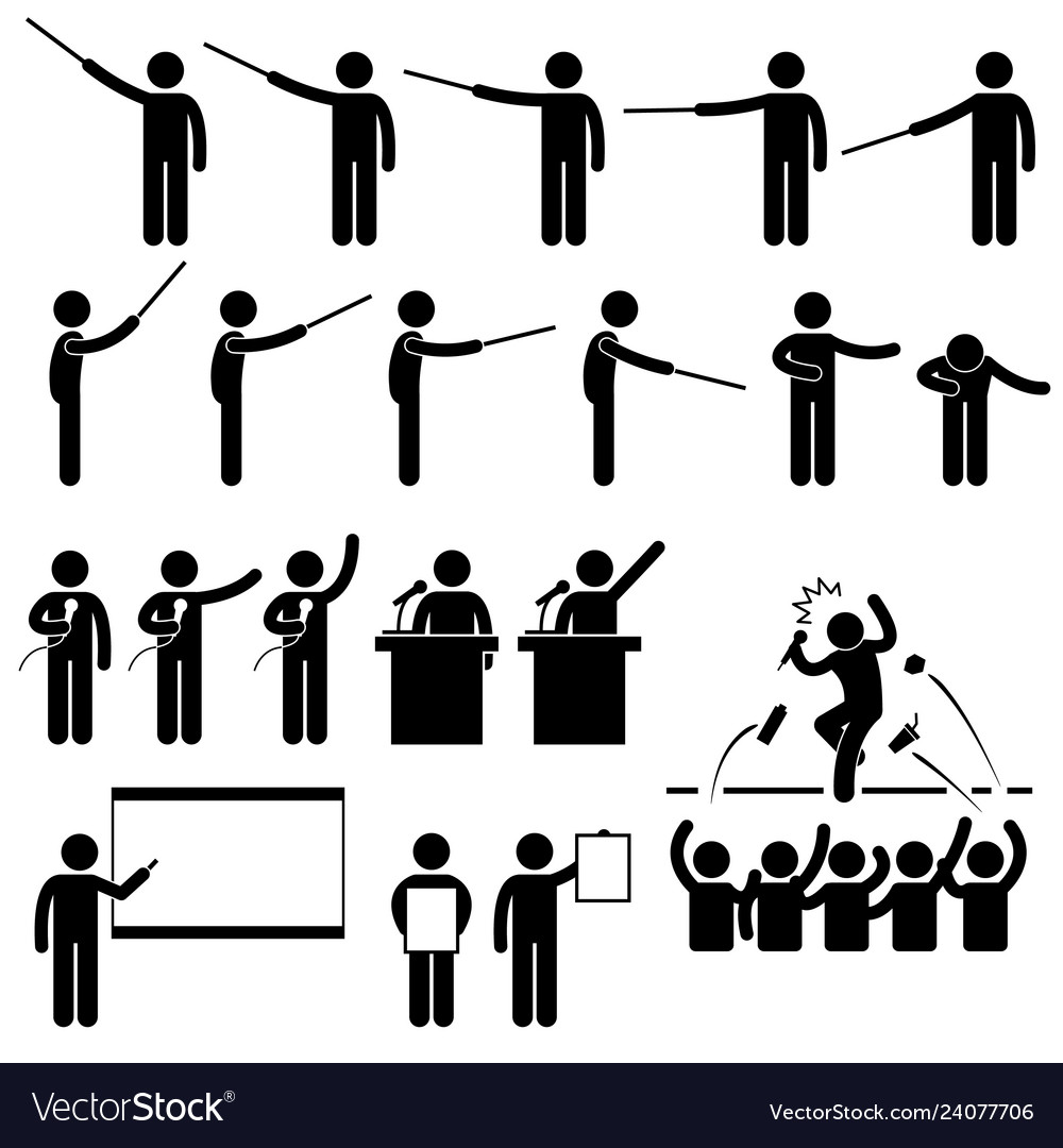 Speaker presentation teaching speech stick figure.