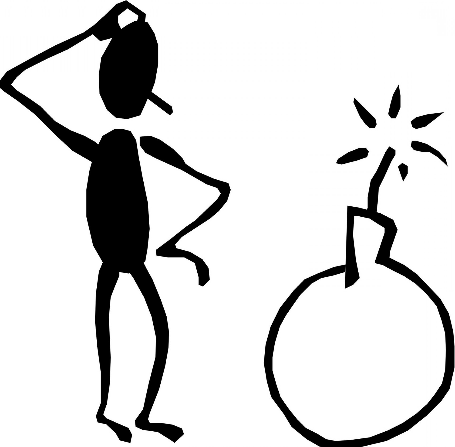 Stick Man Thinking Clipart.