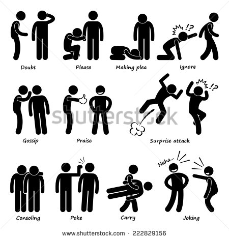 Human Man Action Emotion Stick Figure Pictogram Icons.