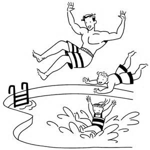 Stick Figured Students Swimming Black And White Water Clipart.
