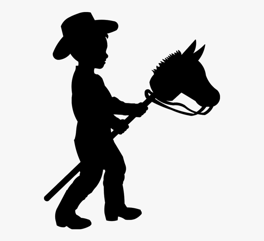 Boy On Stick Horse Silhouette , Free Transparent Clipart.