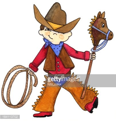 Little Cowboy with Stick Horse Clipart Image.