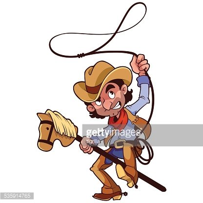 Cowboy with lasso on a stick.