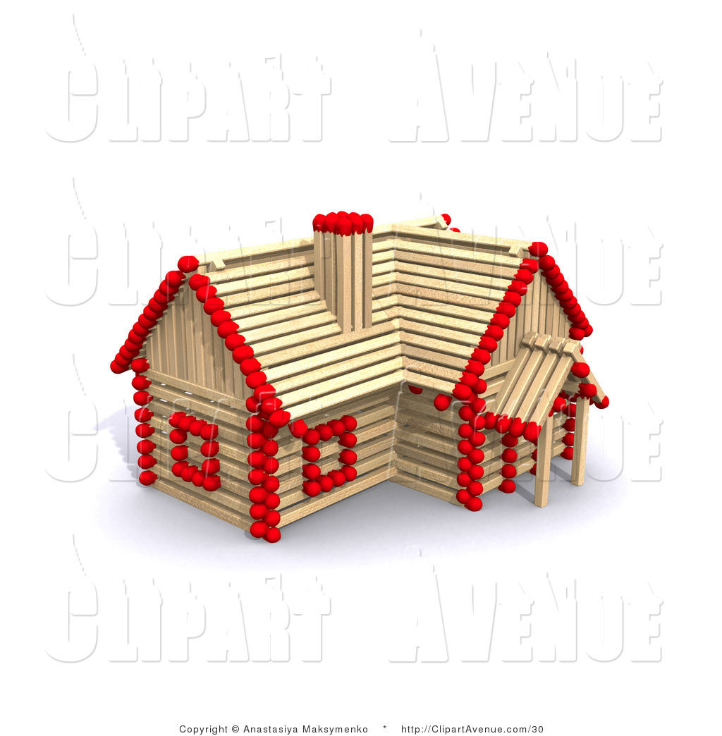 Clipart Of Girl Building Stick House.