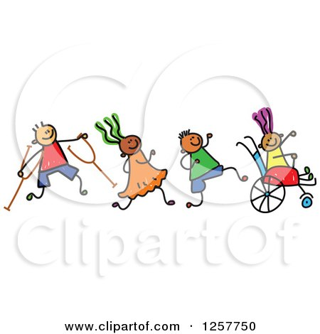 Clipart of a Doodled Disabled Red Haired Caucasian Girl in a Polka.
