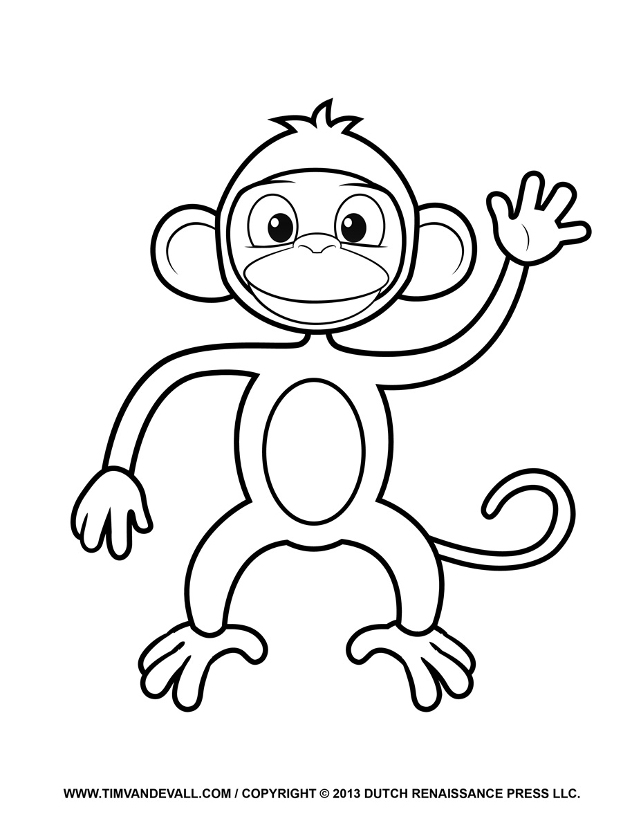 Cartoon Monkey Coloring Pages for Kids.