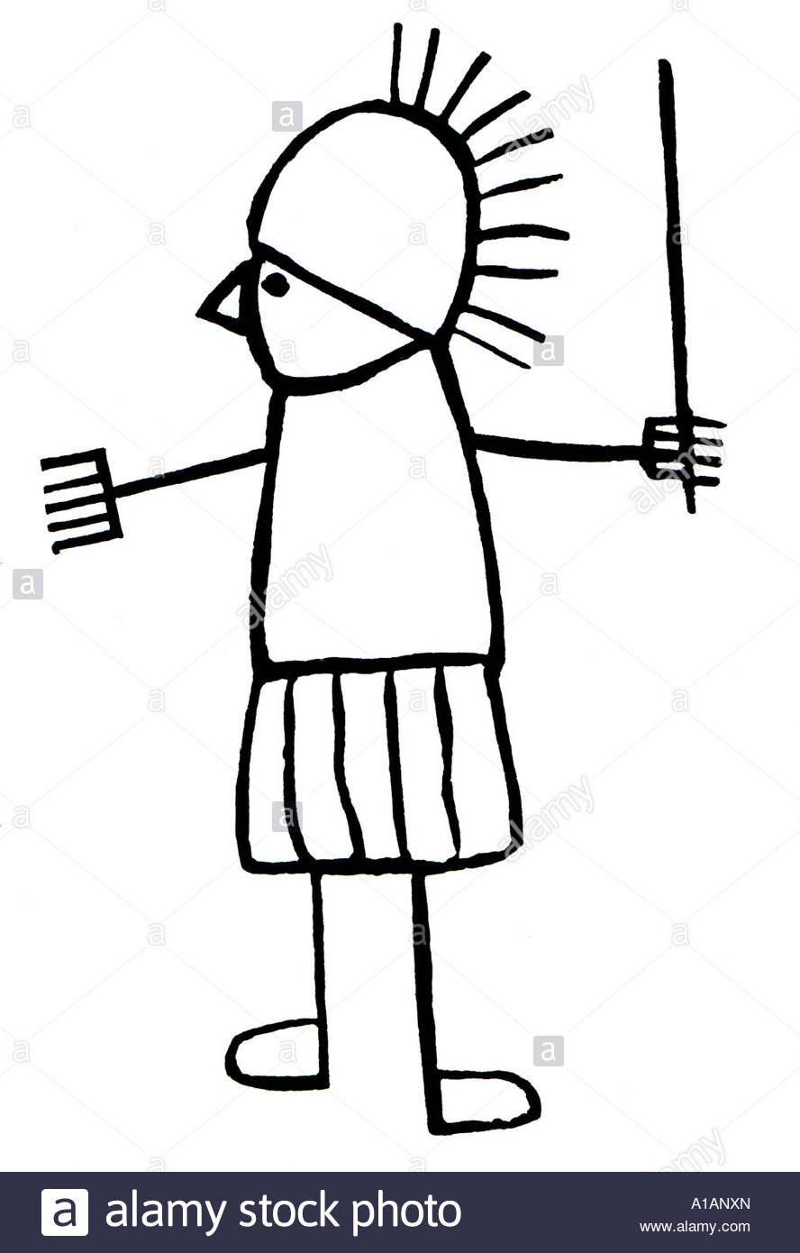 Graffiti of stick figure soldier from Pompeii Stock Photo, Royalty.