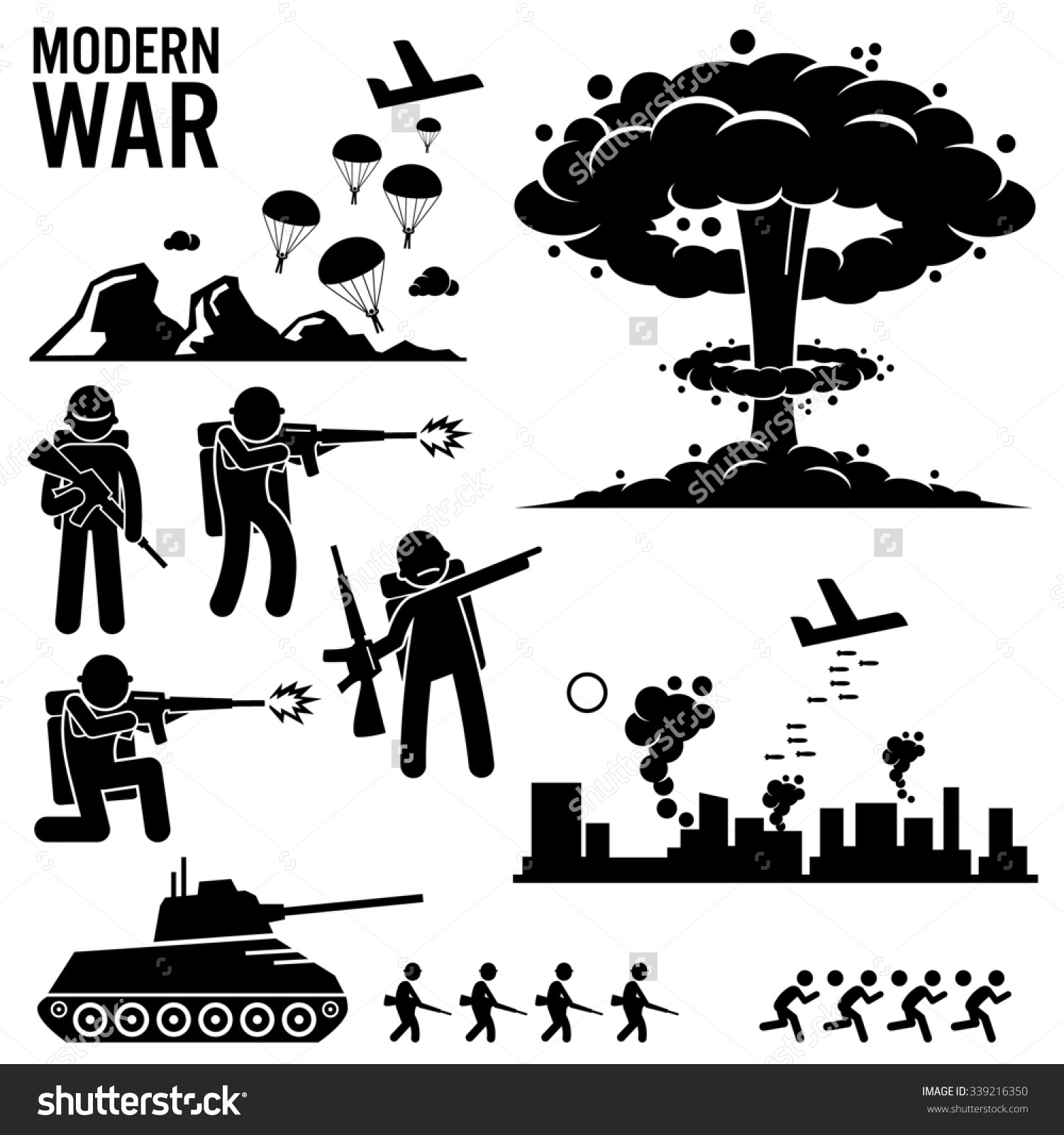 War Modern Warfare Nuclear Bomb Soldier Stock Illustration.