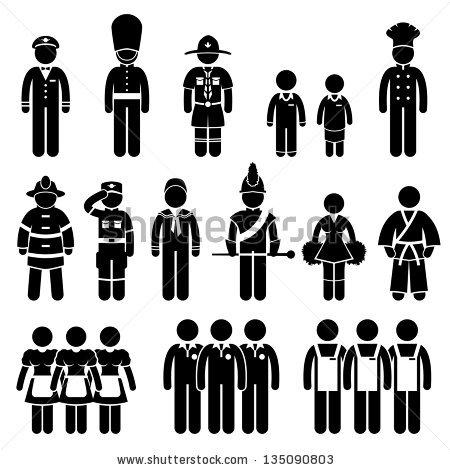 Soldier Types Class Stick Figure Pictogram Stock Illustration.