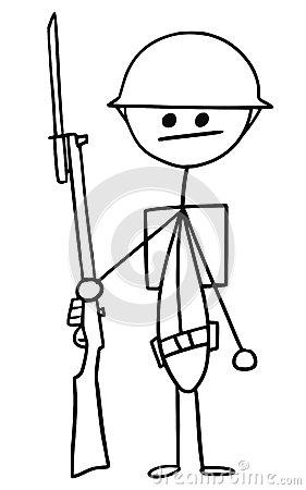 Vector Stickman Cartoon Of British WW1 WWI Soldier Stock Vector.