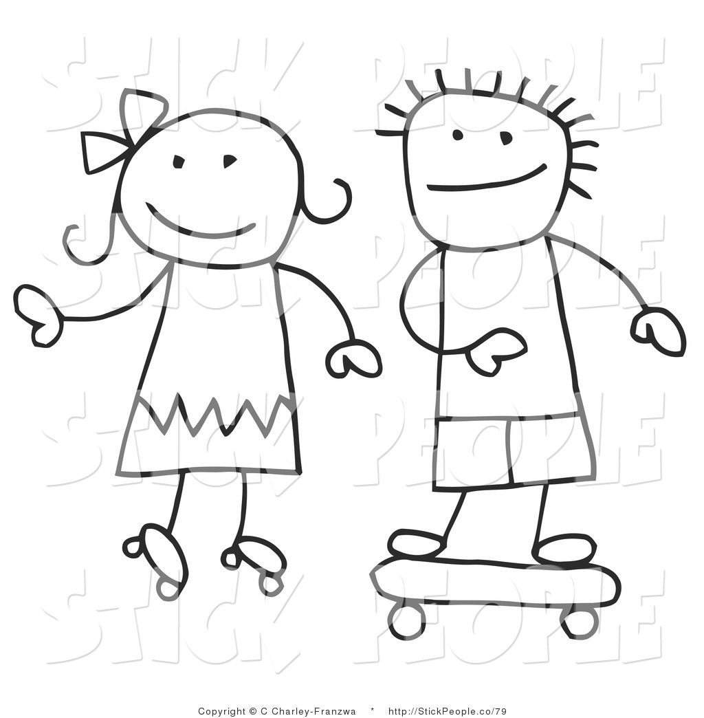 Royalty Free Black and White Stock Stick People Designs.