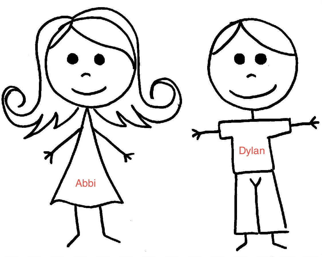 Stick Figure Of A Girl And Dad.