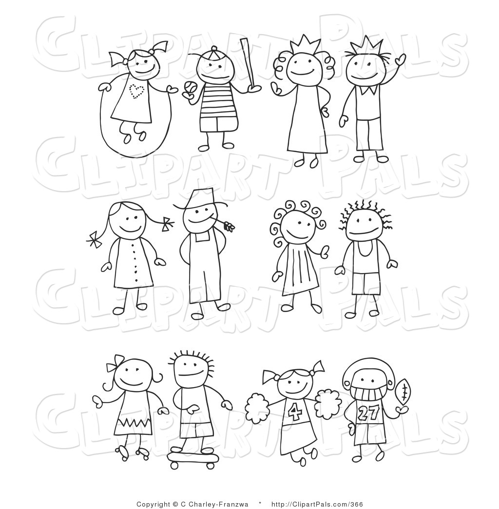 Stick People Friends Clipart Black And White.