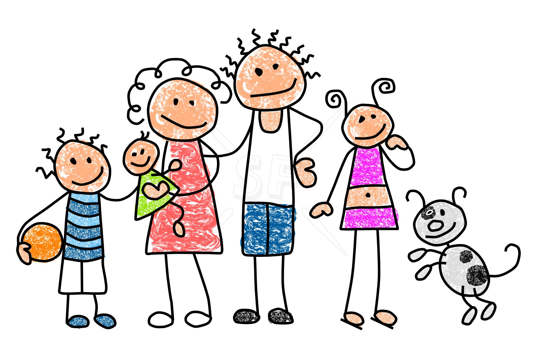 Stick Figure Family Clip Art N2 free image.