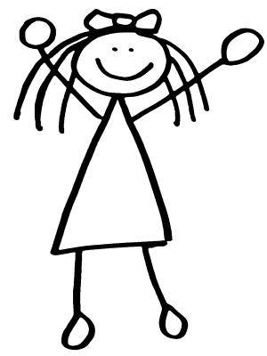 stick person girl clipart #11