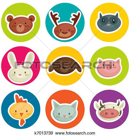 Clipart of Cute wall clock cat sticker. Vector illustration.