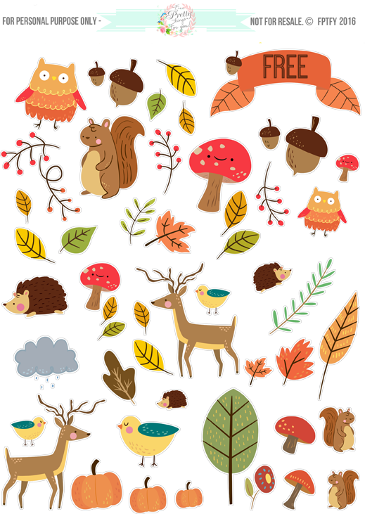 Free Critter Autumn Planner Stickers and Clip Art!.