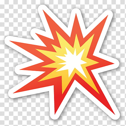 EMOJI STICKER , red and yellow explosion illustration.