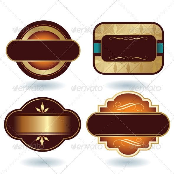 Brown Gold Labels Template.