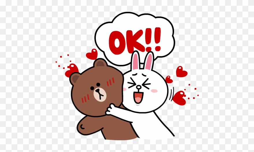 Brown Cony Sweet Love Line Sticker Hearts Download.