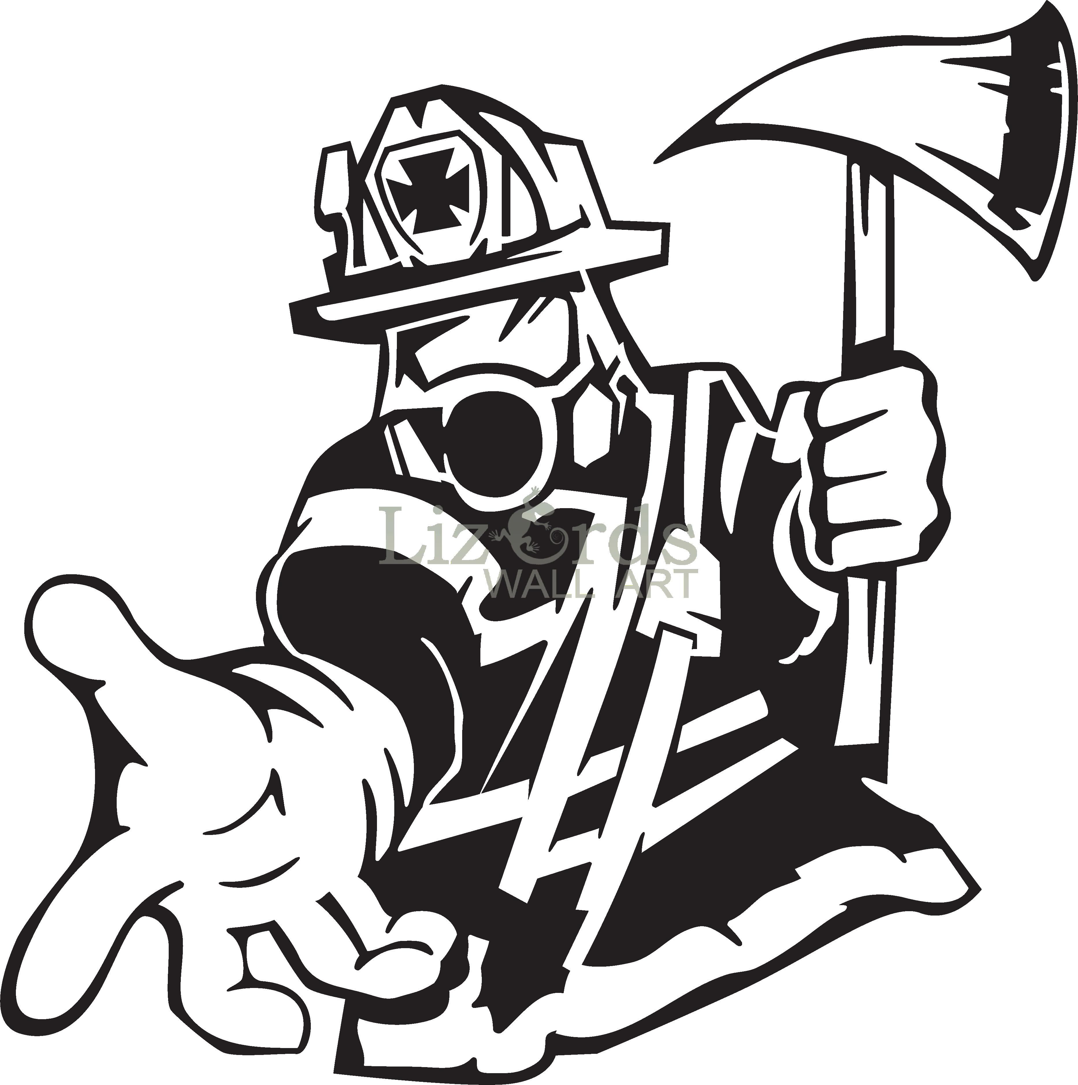 Firefighter Text Sticker Line art Silhouette.