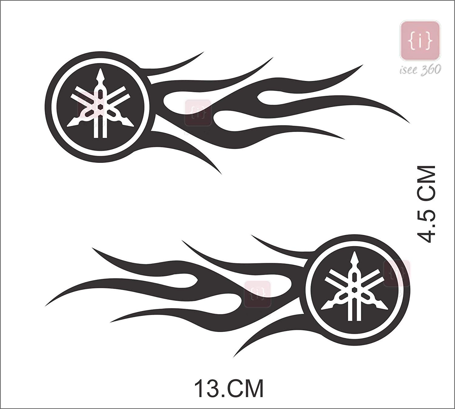 ISEE 360® Yamaha fire Pattern Logo Sticker for Bike Tank.