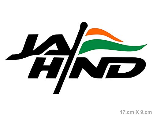 KaaHego Jai Hind Indian Flag Sticker Logo for Car Bumper Sides Kwid Baleno  Multi Colored Decals L x H 17 x 9 Cms.