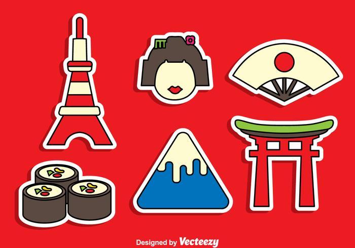 Japanese Sticker Vector Set.