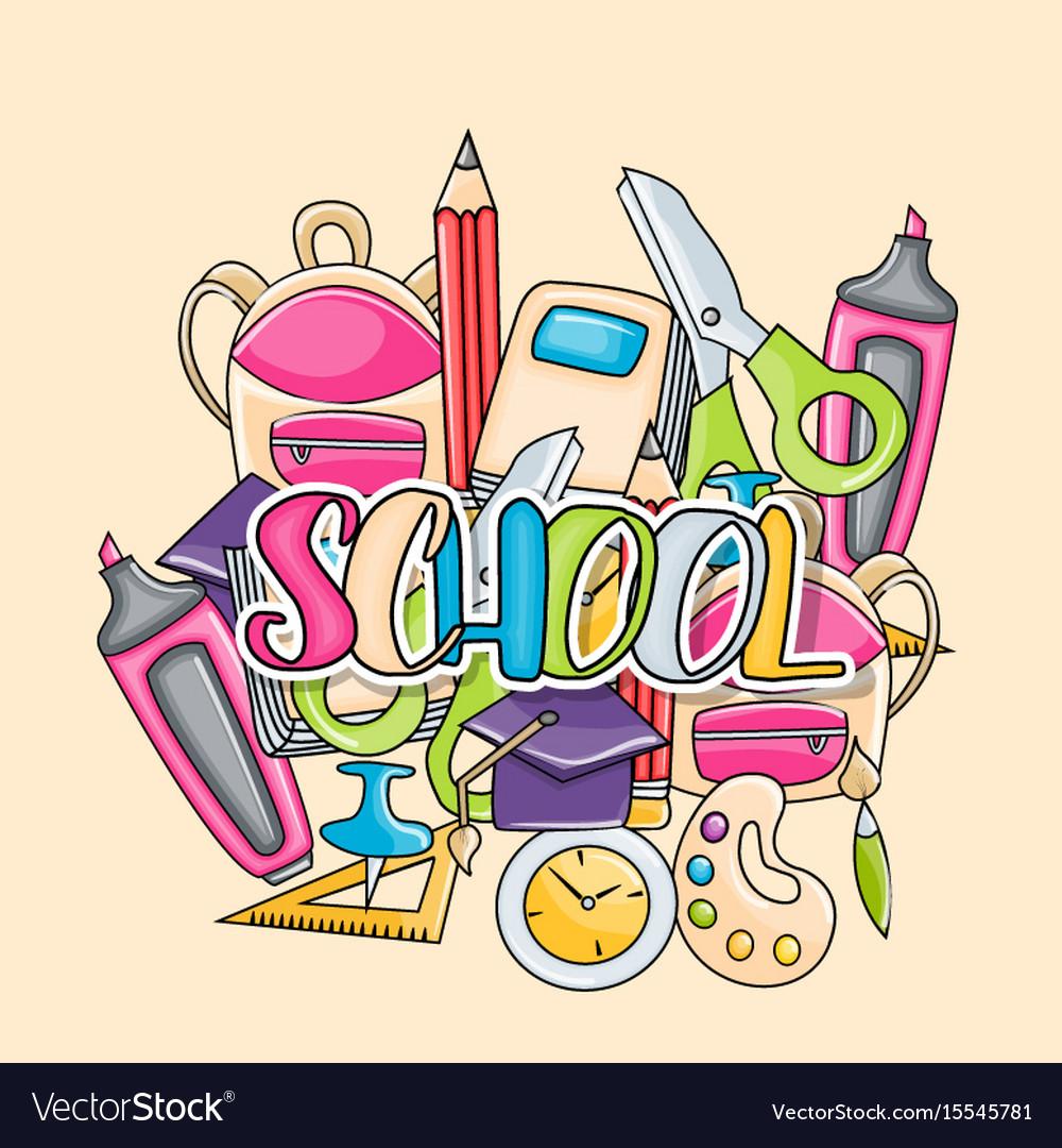 School elements clip art doodle sticker.