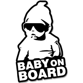 Baby on Board Car Sticker Decal Black and White.