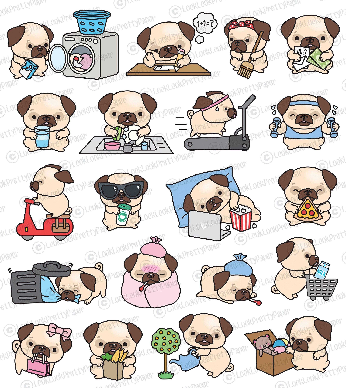 Premium Vector Clipart Kawaii Pug Cute Pugs Planning.