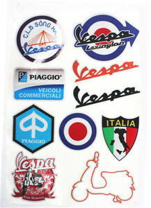 Details about side cover panel badge stickers for piaggio vespa stickers  Vespa logo full set.