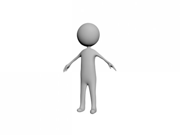 Stickman with fingers Free 3D Model.