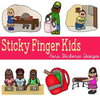 Stealing/Sticky Finger Kids Clipart.