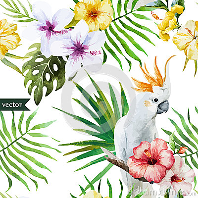 Pattern, Tropical, Watercolor Stock Illustration.