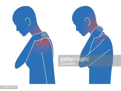 Symptoms, body, disease, stiff neck, pain Clipart Image.