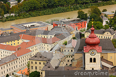 Nonnberg Abbey Bell Tower. Salzburg. Austria Stock Photo.