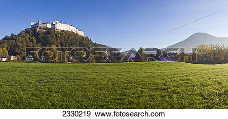 Stock Photograph of Fort on hill, Hohensalzburg Fortress, Stift.