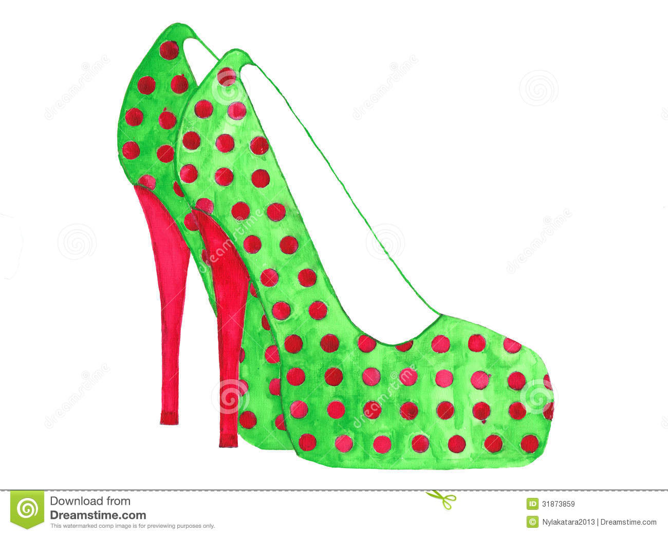 Stiletto High Heels Polka Dot Watercolor Royalty Free Stock Images.
