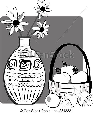 Vector Clip Art of Still Life with Flowers csp3813831.